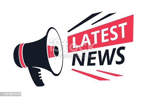 Latest news isolated icon, megaphone or bullhorn, breaking report vector. Info announcement and TV or radio broadcast, web article, loudspeaker. Daily headline emblem or logo, message or advertising