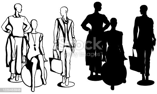 istock Latest Trend Fashion Mannequins Silhouette 1220453948