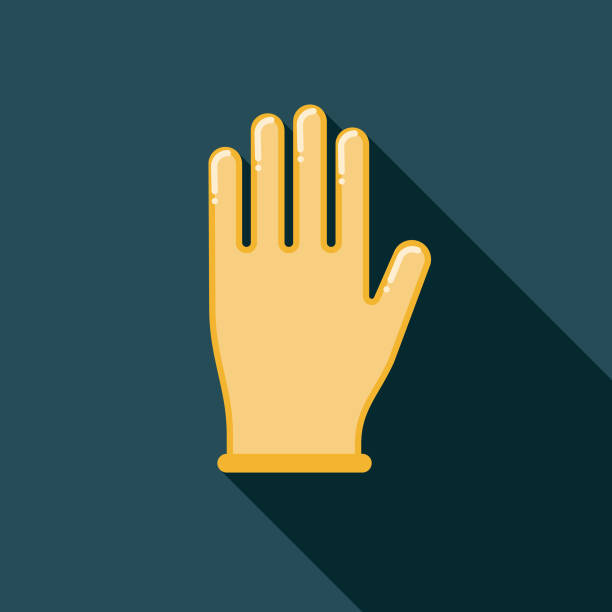 latex-handschuh flache sanitätsartikel designikone mit seite schatten - schutzhandschuhe stock-grafiken, -clipart, -cartoons und -symbole