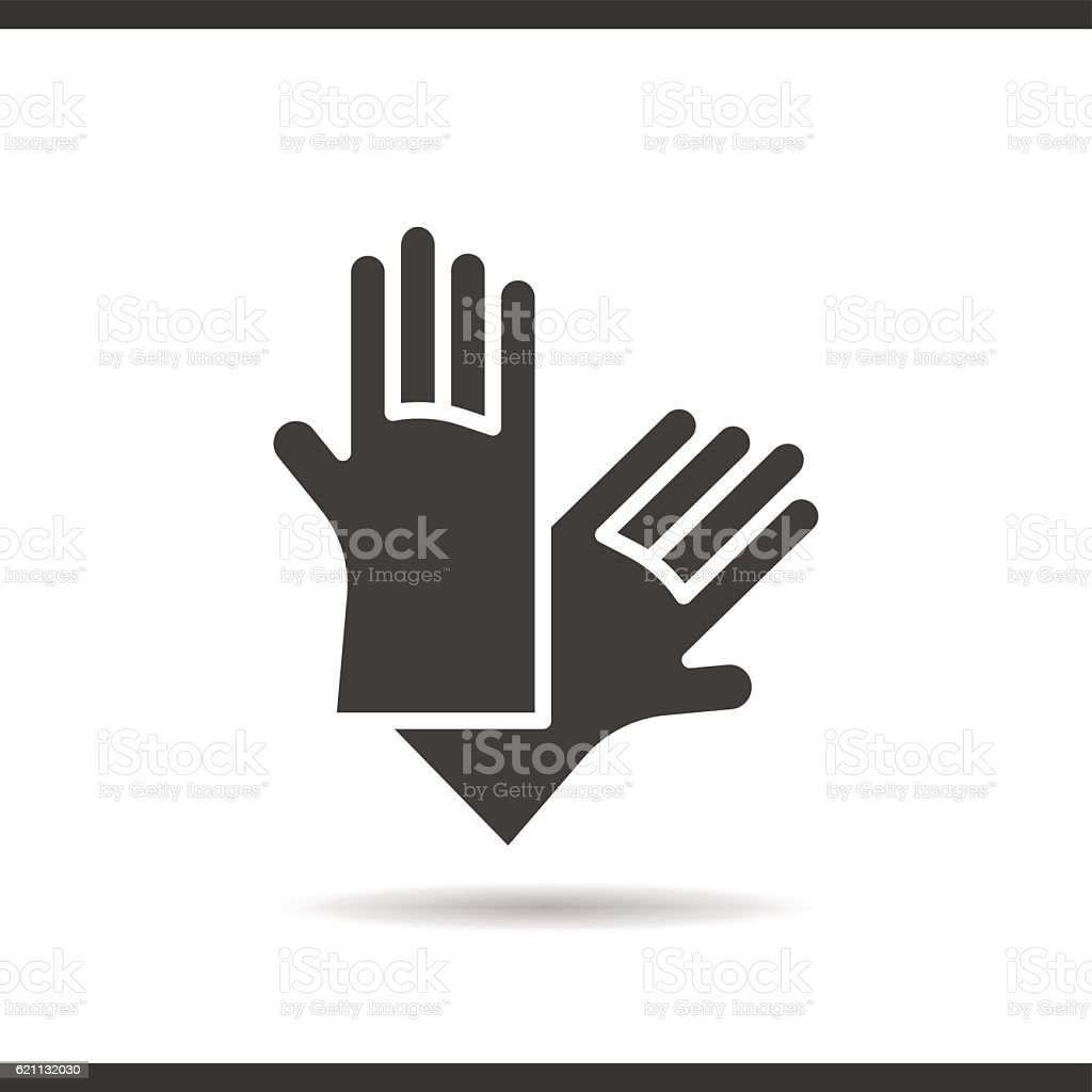 latex gloves icon drop shadow silhouette symbol stock vector art
