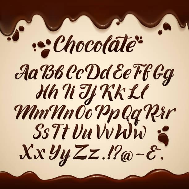 액체 스타일에 라틴어 알파벳입니다. 손 쓰기 갈색 초콜릿 편지입니다. 벡터 일러스트 - 초콜릿 stock illustrations