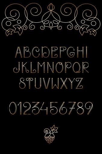 Latin alphabet with golden gradent