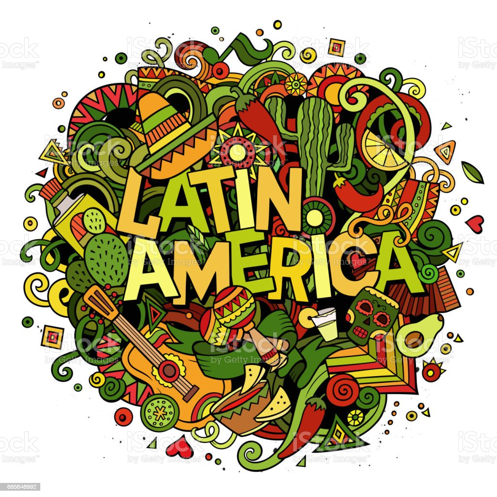 Latin America. Cartoon vector hand drawn Doodle illustration royalty-free latin america cartoon vector hand drawn doodle illustration 개체 그룹에 대한 스톡 벡터 아트 및 기타 이미지