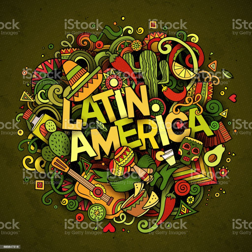 拉丁美洲。卡通向量手繪塗鴉插畫 免版稅 拉丁美洲卡通向量手繪塗鴉插畫 向量插圖及更多 一組物體 圖片