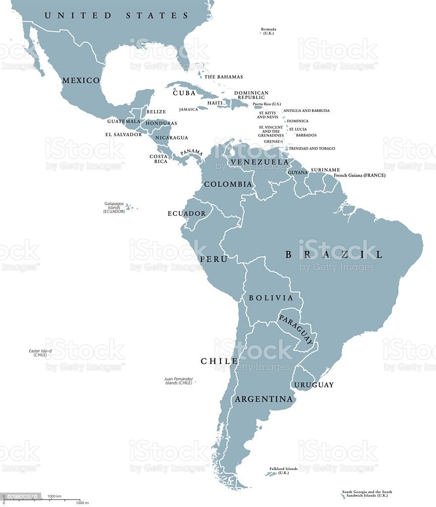 Latin America countries political map - ilustración de arte vectorial