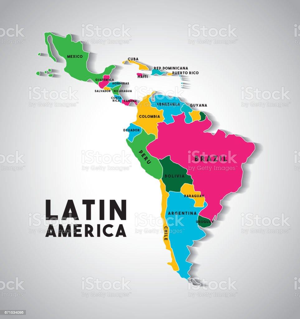 carte de l'Amérique latine - Illustration vectorielle