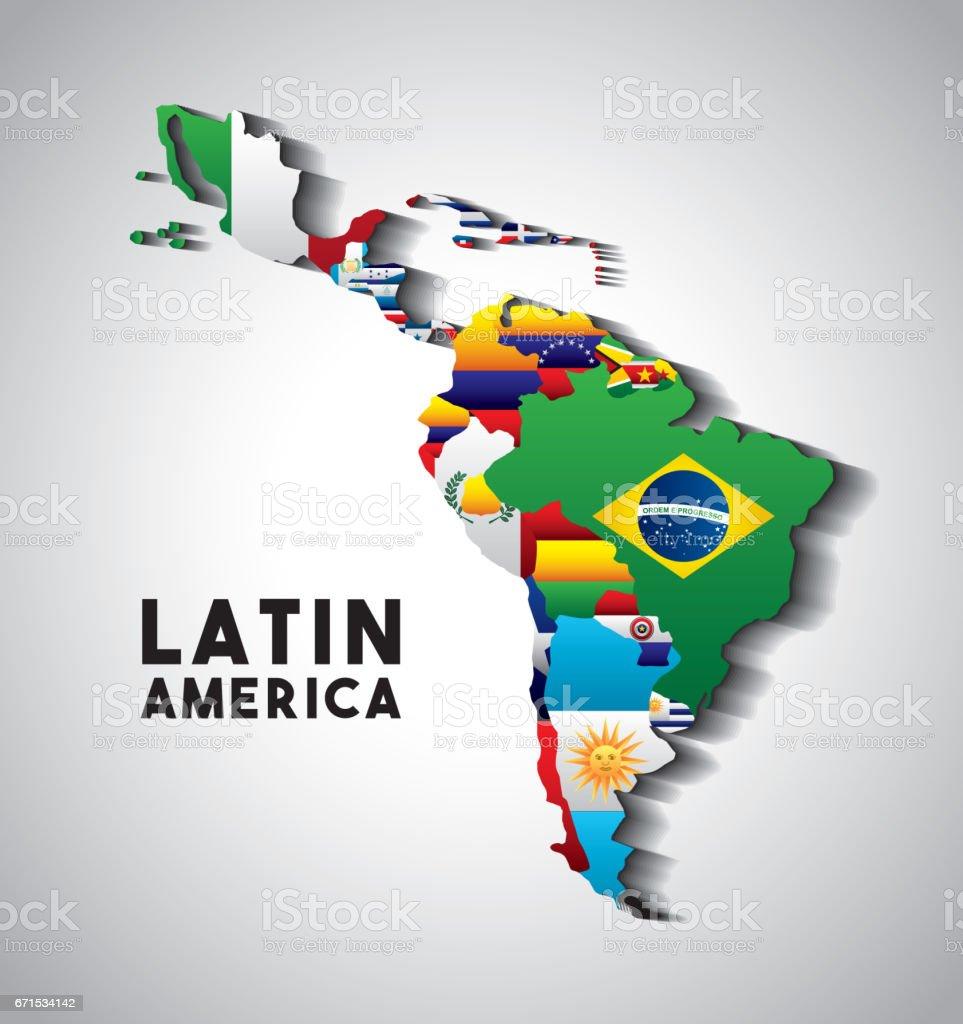 mapa de América Latina - ilustración de arte vectorial