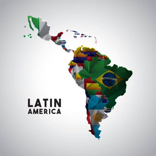latin america map vector art illustration