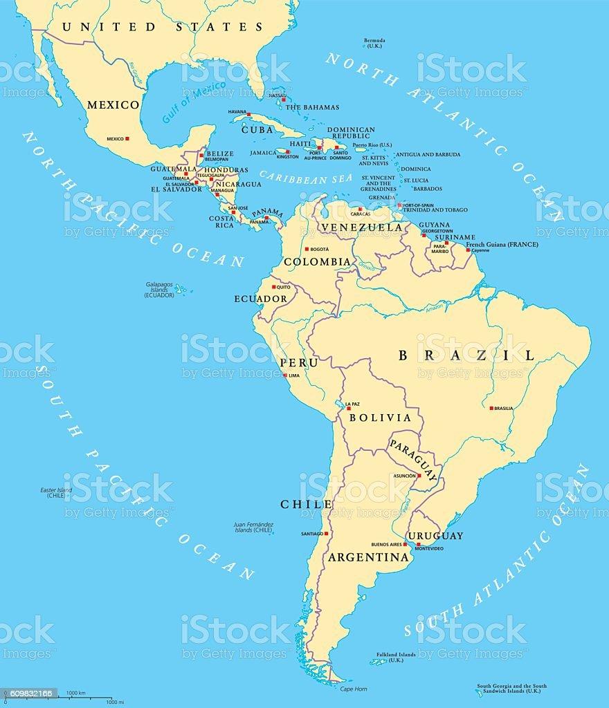 Latin America political map - ilustración de arte vectorial