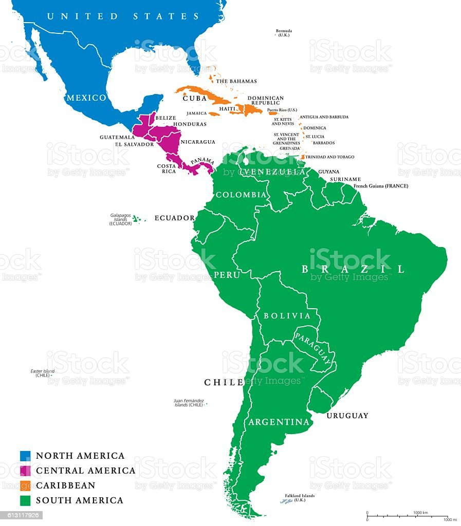 Latin America regions political map vector art illustration
