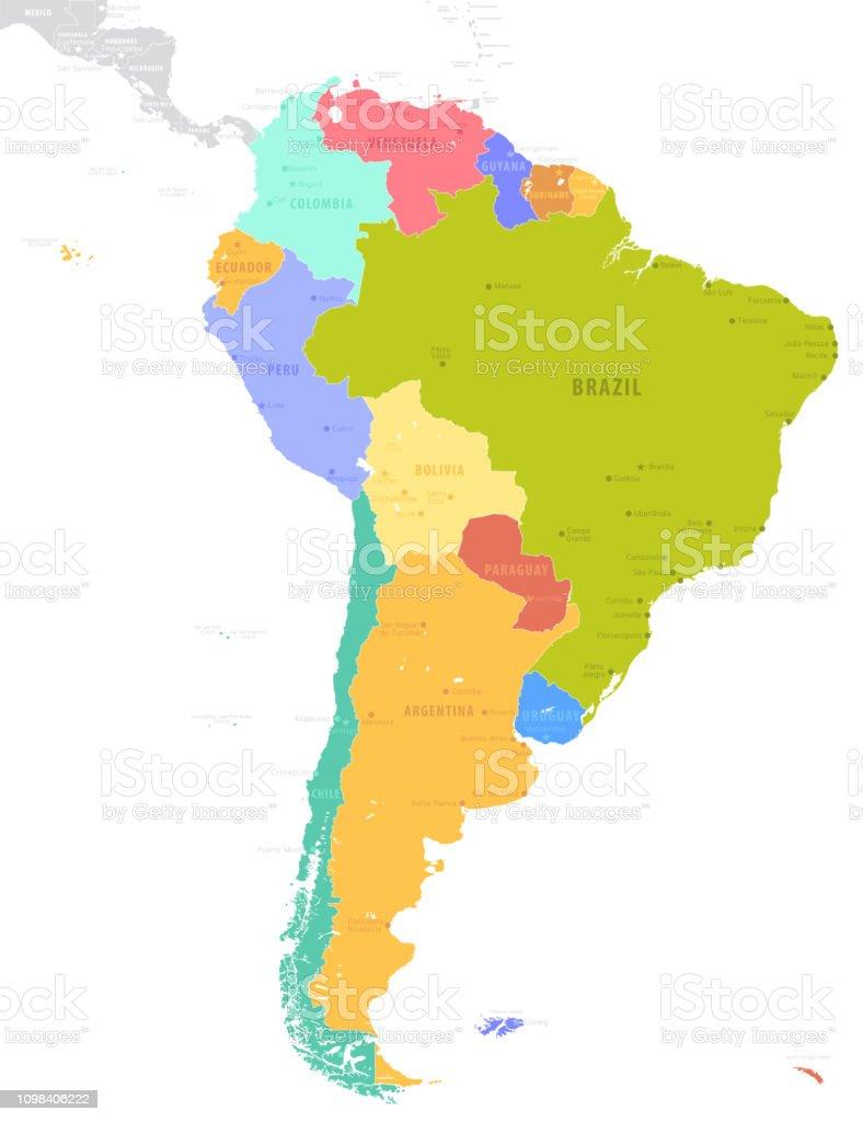 Latin America Single States Political Map Stock Illustration ... on jamaica map, uygur map, 70's map, quebecois map, central america map, south america map, acholi map, valencian map, journalism map, rhetoric map, peruana map, dutch map, instructional map, chichewa map, armaic map, european map, eurovision map, old nubian map, roman map,