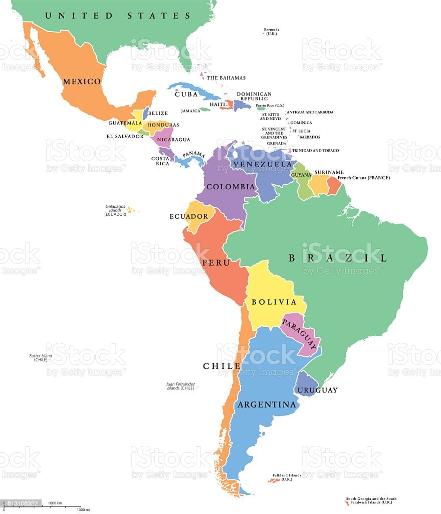 Latin America single states political map vector art illustration