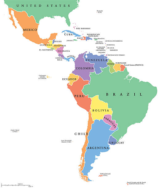 latin america single states political map - südamerika landkarte stock-grafiken, -clipart, -cartoons und -symbole