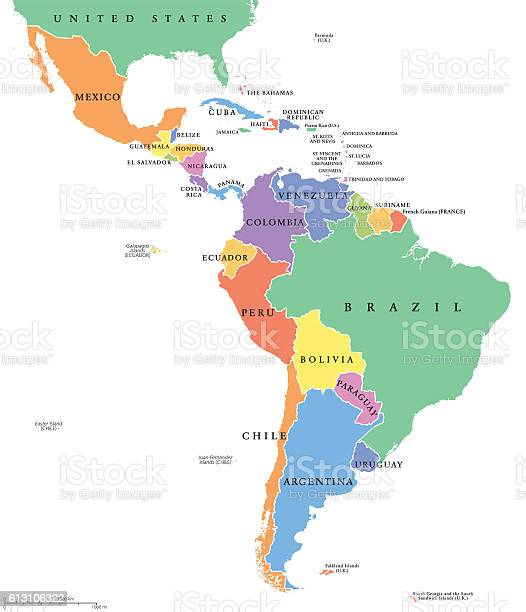 Latin America Single States Political Map Stockvectorkunst en meer beelden van Argentinië
