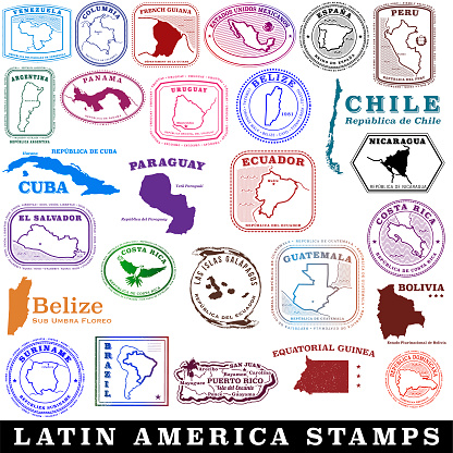 Latin American and Spanish speaking travel stamps