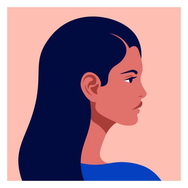 ilustraciones, imágenes clip art, dibujos animados e iconos de stock de cabeza latinoamericana de perfil. mujer hispana. razas y nacionalidades del mundo. ilustración plana vectorial - cabello largo
