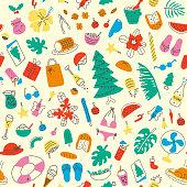 Latin american summer christmas, colorful seamless pattern.