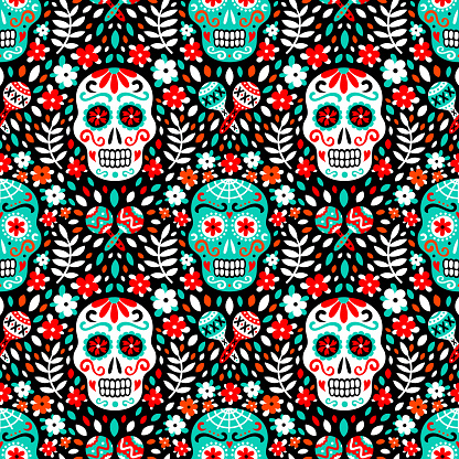 Latin american traditional Day of the Dead background of ethnic mariachi musical instruments, sugar skulls and flowers for fabric prints, wallpaper