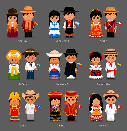 Latin Americans in national dress. clipart