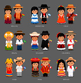 Latin Americans in national dress.