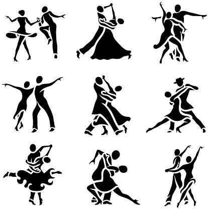 Latin and Ballroom Dance Styles Icons Set