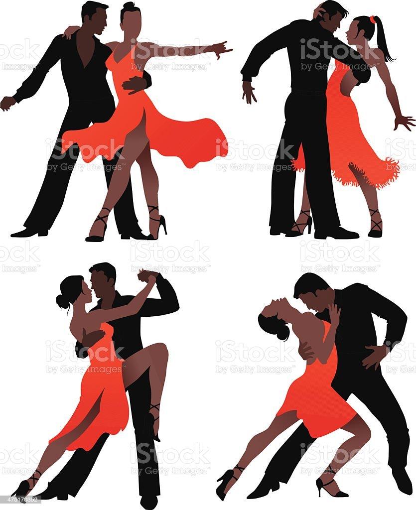 Top Danseurs Latino Silhouette De Couple Ensemble Stock Vecteur Libres  JS65