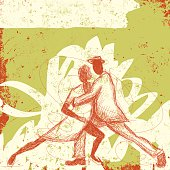 Sketchy, hand drawn couple dancing the tango over an abstract background.The background extends outside the square clipping mask. To edit, select the background and go to OBJECT-> CLIPPING MASK-> EDIT CONTENTS OR RELEASE.