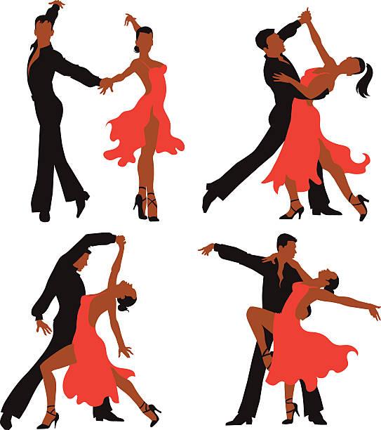 lateinamerikanischer tanz der farben-set für paare - ballsäle stock-grafiken, -clipart, -cartoons und -symbole