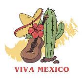 FREEDOM MEXICO Latin Holiday Travel Vector Illustration Set