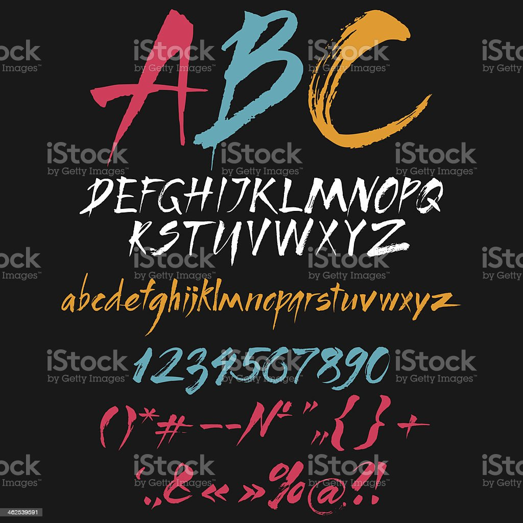 Latin letters and symbols written by brush vector art illustration