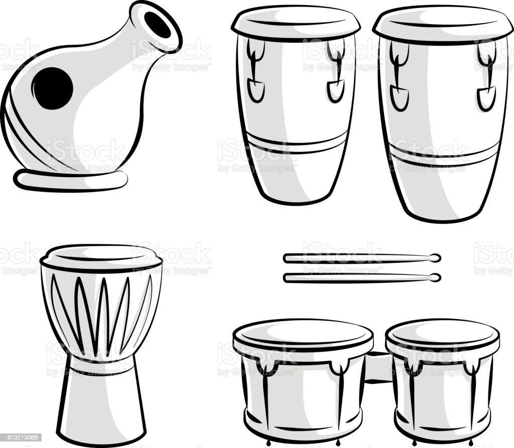 Latin Percussion Drum Instrument Icons vector art illustration