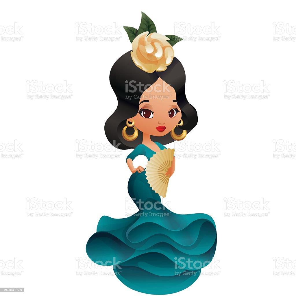 Latin Spanish Cute Chibi Cartoon Girl Stock Illustration -4028