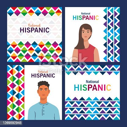 latin woman and man cartoons with colored shapes design, national hispanic heritage month and culture theme Vector illustration