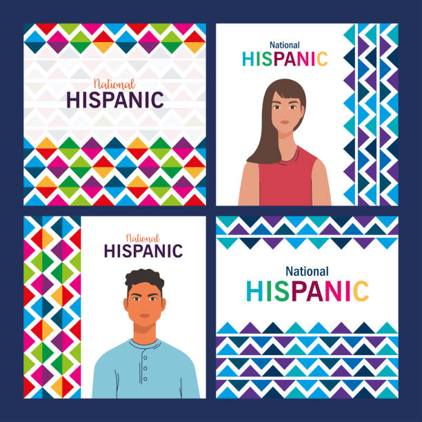 latin woman and man cartoons of national hispanic heritage month vector design latin woman and man cartoons with colored shapes design, national hispanic heritage month and culture theme Vector illustration tradition stock illustrations