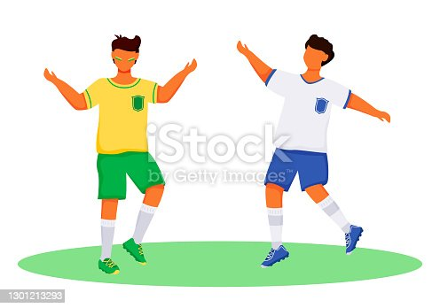 istock Latino boys in sportswear flat color vector faceless characters. Football fans. Standing teenager. Sportsmen. Brazil carnival isolated cartoon illustration for web graphic design and animation 1301213293