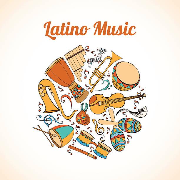 bildbanksillustrationer, clip art samt tecknat material och ikoner med latino musical card - latino music