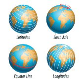 Latitude and longitude of earth globe