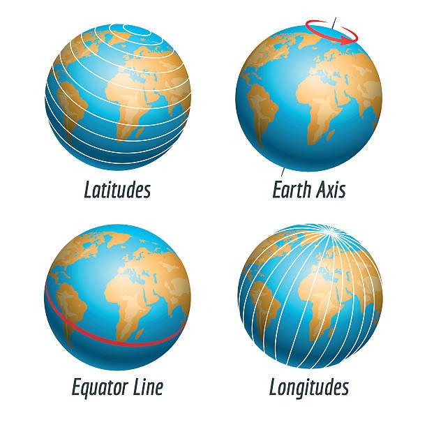 Latitude and longitude of earth globe Latitude and longitude of the earth globe vector illustration equator stock illustrations