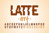 Latte art font design, milk coffee foam art alphabet letters and numbers vector illustration