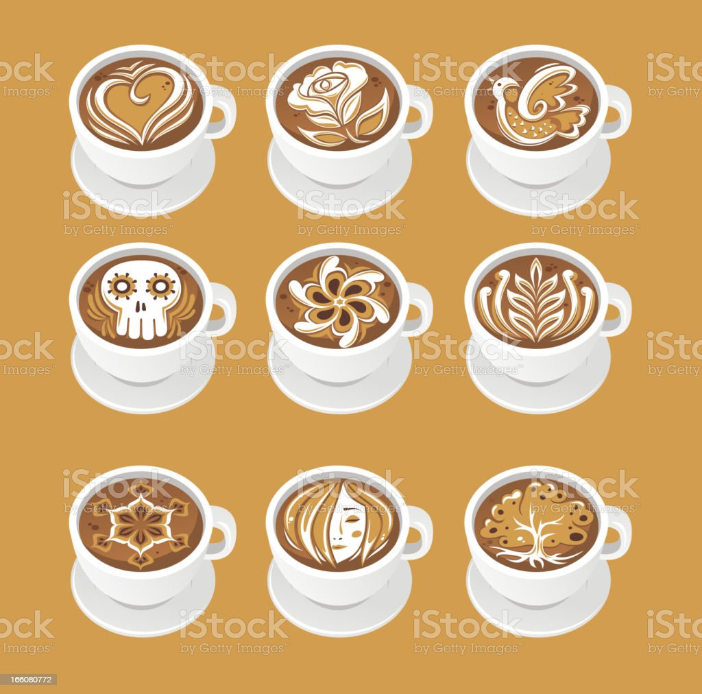 latte art vector art illustration