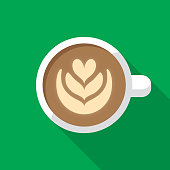 Vector illustration of a latte against a green background in flat style.