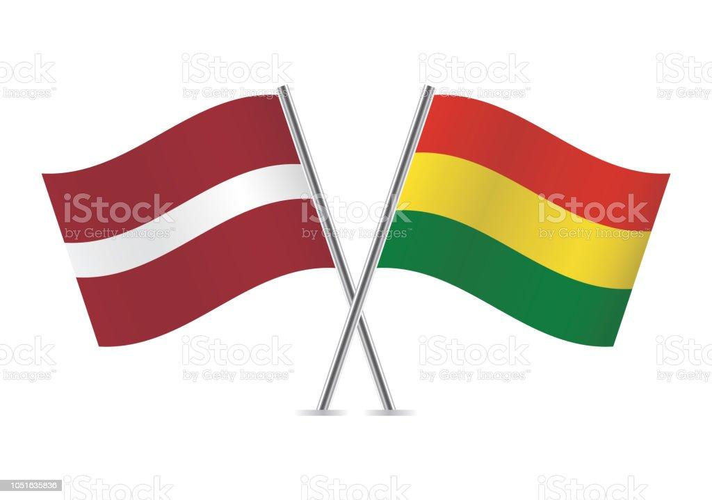 Banderas de Letonia y Bolivia. Ilustración de vector. - ilustración de arte vectorial