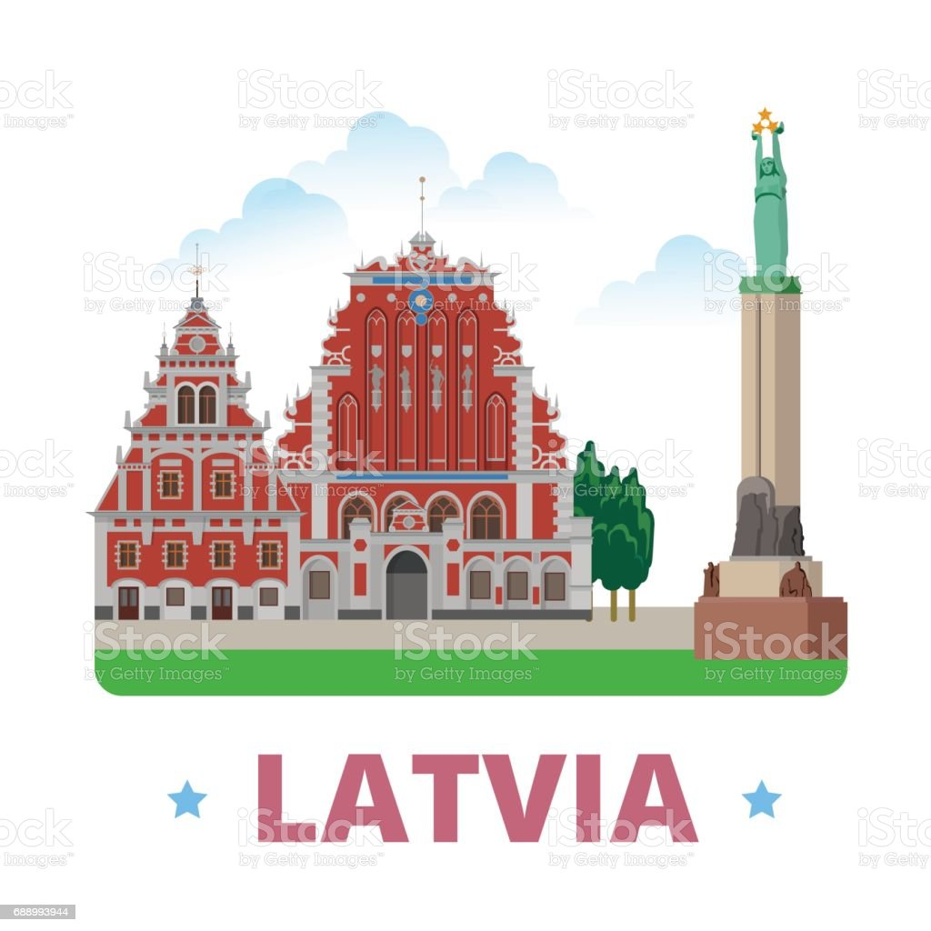 Latvia country magnet design template. Flat cartoon style historic sight showplace web vector illustration. World vacation travel Europe European collection. House of the Blackheads Freedom Monument. vector art illustration