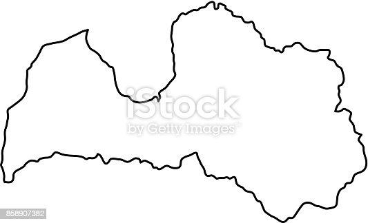 Lettland Karta Europa.Lettland Karta Over Svart Kontur Kurvor Av Vektorillustration