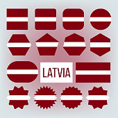 Latvia National Colors, Insignia Vector Icons Set. Latvia State Flag, European Country Official Symbolics. Red And White Patriotic Banner. Latvian Republic Traditional Emblem Flat Illustration
