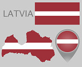 Colorful flag, map pointer and map of Latvia in the colors of the Latvian flag. High detail. Vector illustration