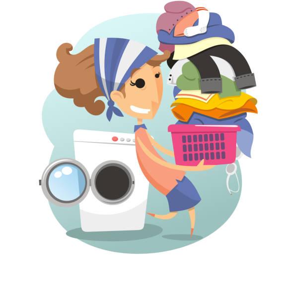 Wäscherei Frau Waschen Kleidung Leben Waschsalon – Vektorgrafik
