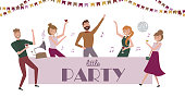 Laughing and dancing young people at party. Funny cartoon style icons collection with men and women