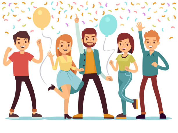 lachen und tanzen jugendliche auf party. glückliche männer und frauen feiern wichtiges ereignis. vektor-illustration - happy people stock-grafiken, -clipart, -cartoons und -symbole
