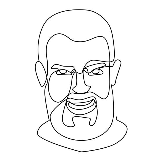 Laughing Bearded Man Portrait One Line Art. Smiling Male Facial Expression. Hand Drawn Linear Man Silhouette. Vector illustration vector art illustration